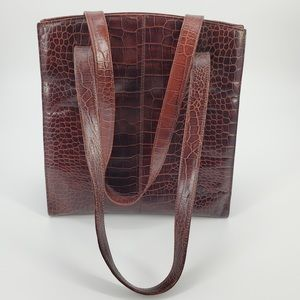 Bloomingdales Leather Reptile Shoulder Bag Purse